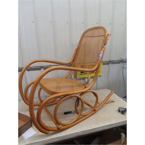 (OM) Bent wood Kane Rocking Chair