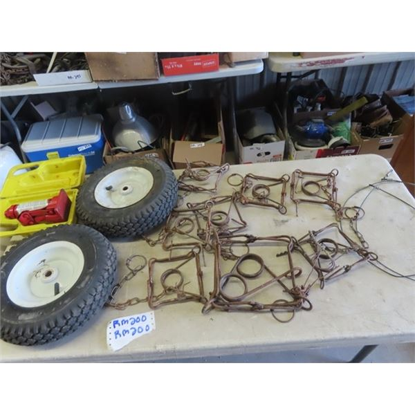 8 Conabear Traps, Lawn Mower Tires, Hyd Jack