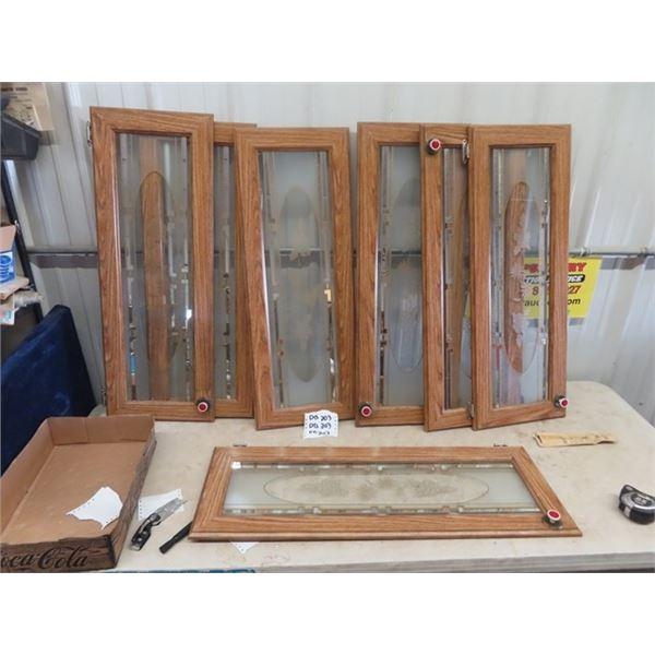 """7 Cupboard Doors - Oak & Glass 13.5"""" x 37"""""""