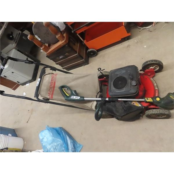 "Jacobsen 20"" Push Mower w Bagger & Weedeater"