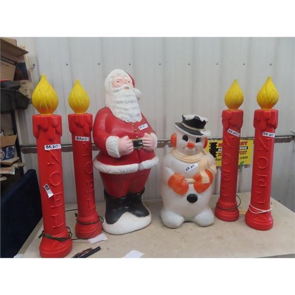 6 Christmas Outdoor Light Up Ornaments Santa, Snowman, & 4 Candles