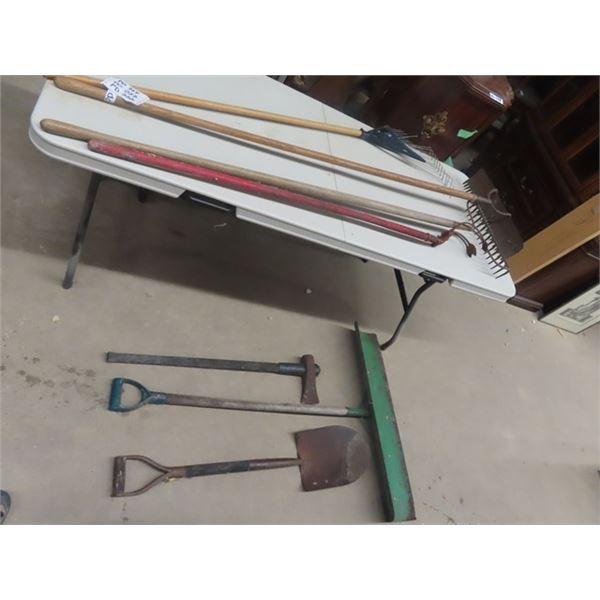 7 Yard Tools, Splitting Axe, Spade, & Push Shovels, 3 Rakes, & Scufflers