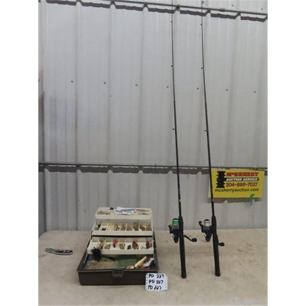 2 Fishing Rod & Reels, & Full Tackle Box