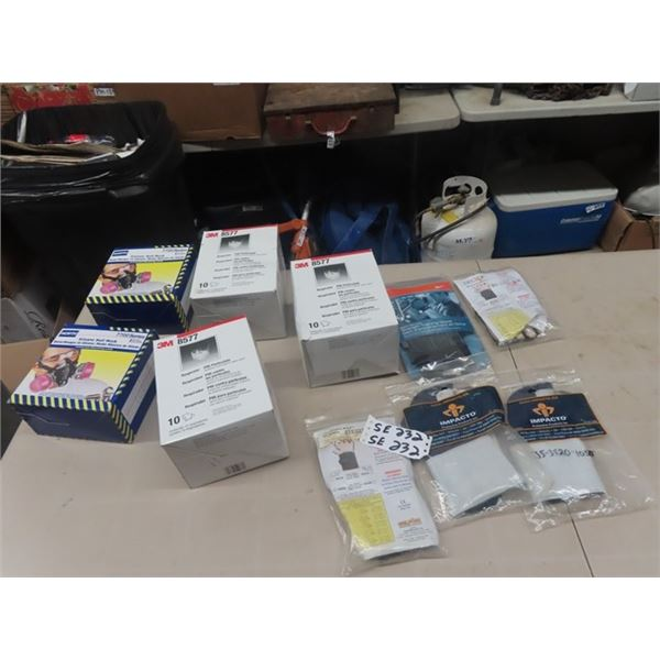 2 New North 7700 , Silicon 1/2 Mask, 3 Boxes respirators, New Training Gloves