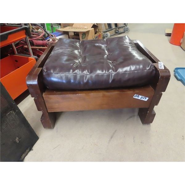 Wooden Framed Leather Ottoman
