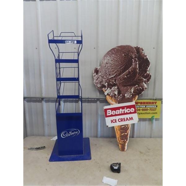 "Beatrice Ice Cream Sign 46""H Up to 27""W & Cadbury Meal Rack 48"" x 11"" x 12"""