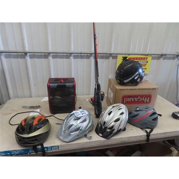 4 Bicycle Helmets, Fishing Rods,Heater Plus