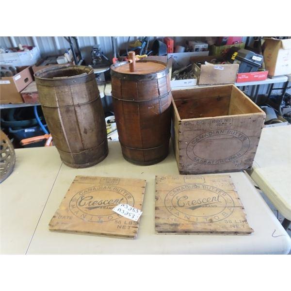 2 Nail Kegs, 1 Converted w Spiggot & Butter Box