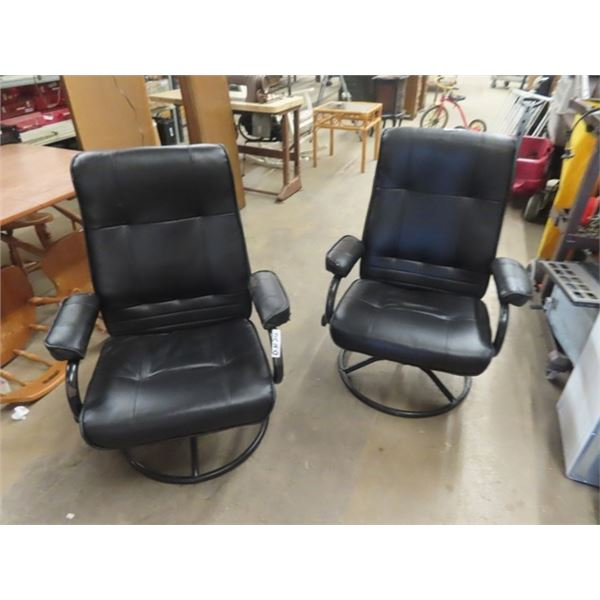 2 Leather Swivel Chairs