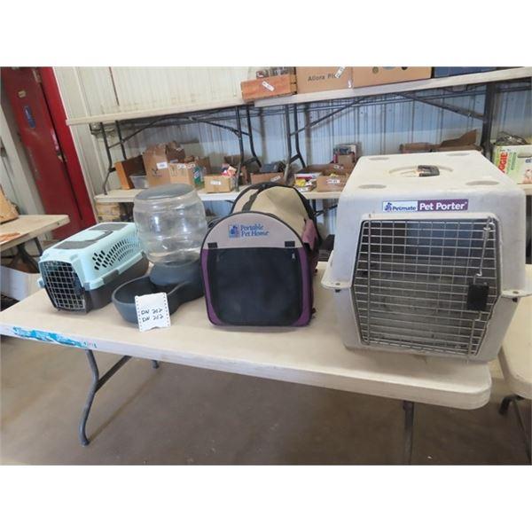 3 Portable Pet Kennels & Pet Waterer