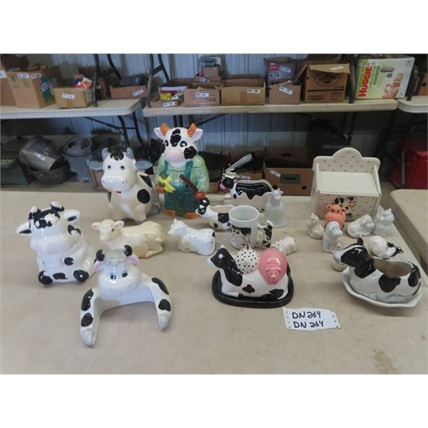Cow Collection- Kitchenware, Cookie Jar, S& P Covered Butter Dish Plus