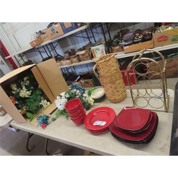 Dishes, Wine Rack, Artificial Plants & Plus