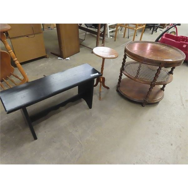 """End Table - 3 Tier , Pedestal Stand & Wooden Bench 36""""W"""