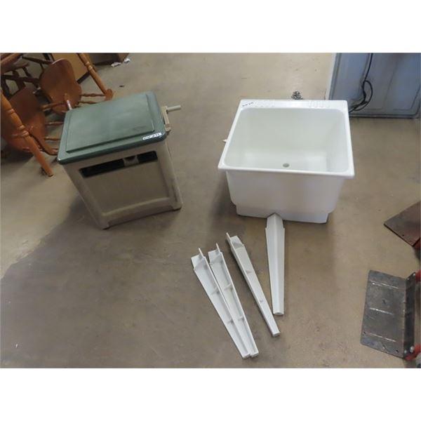 Garden Hose Cabinet & Hose Plus Laundry Tub