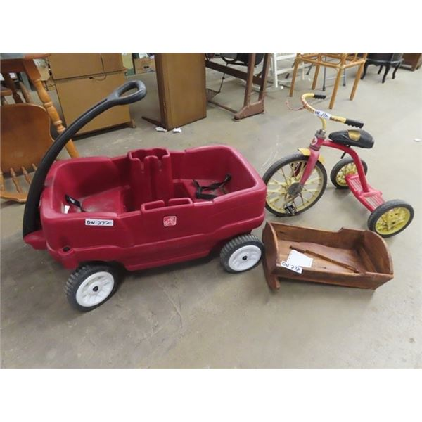Poly Child's Wagon, Tricycle, Wooden Doll Crib