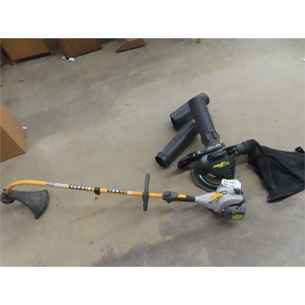 Ryobi Gas Weedeater, & Yard Works Elec Vac/Blower