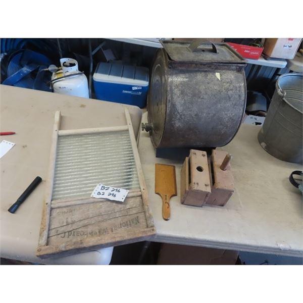 Metal Butter Churn , Butter Press & Washboard