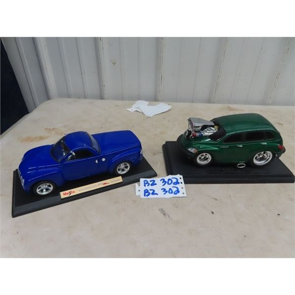 2 Die Cast Toy Cars 1:18 Scale 1) Chev 55 1) PT Cruiser Muscle 2000