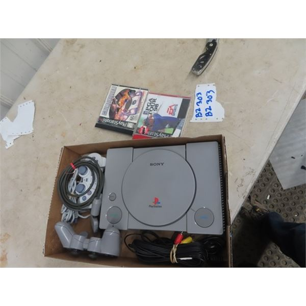 Playstation PS1 Machine w 2 Controls, Cords & 2 Games