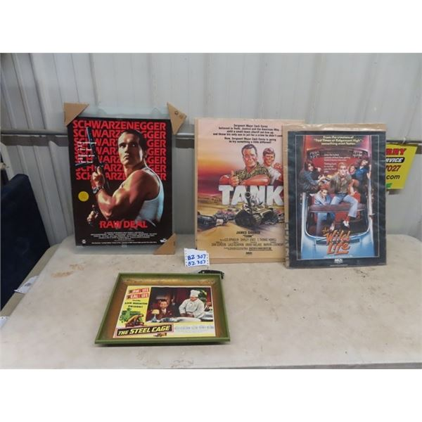 Movie Posters, 1950's Steel Case, 80's Posters Tank & Wild Life & 2 Sided Schwarznegger Poster