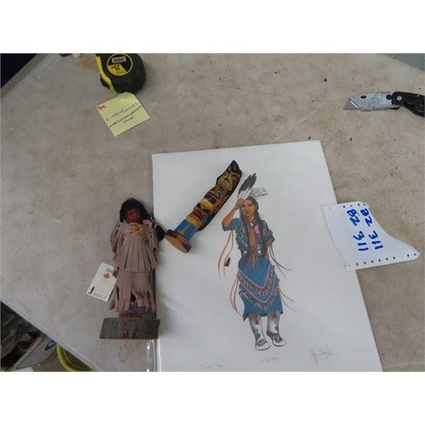 "Iroquis Doll - 1970's, Totem Pole 6.5"" T, 12x 15 Cyril Assiniboine Print, 123/50 , Light Step"