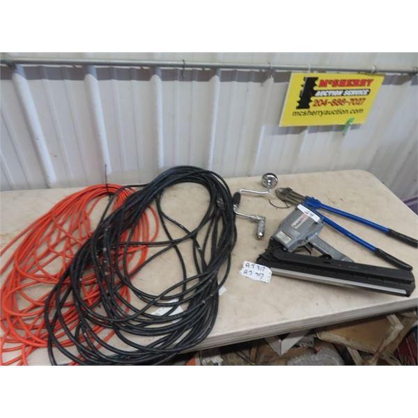 Paslode Air Nailer, Ext Cords, Bolt Cutters & Drill