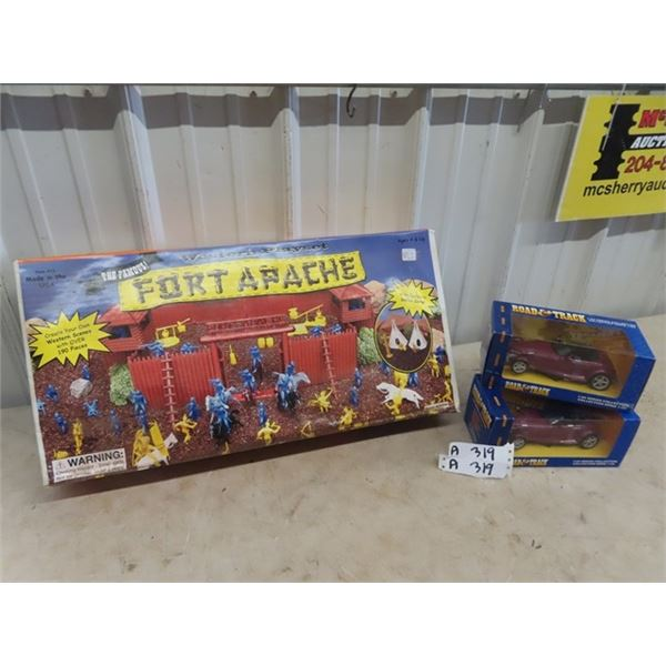 Fort Apache Westen Play Set- New Old Stock & 2 Die Cast Toy Cars 1/24 Scale