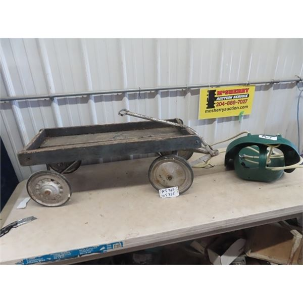 Very Old Child's Wagon , Wooden Box, Steel Rims w Solid Rubber & Toddler Swing