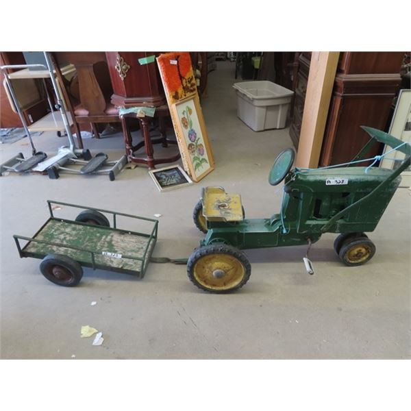 Vintage JD Pedal Tractor w Add On Front End Loader & Wagon