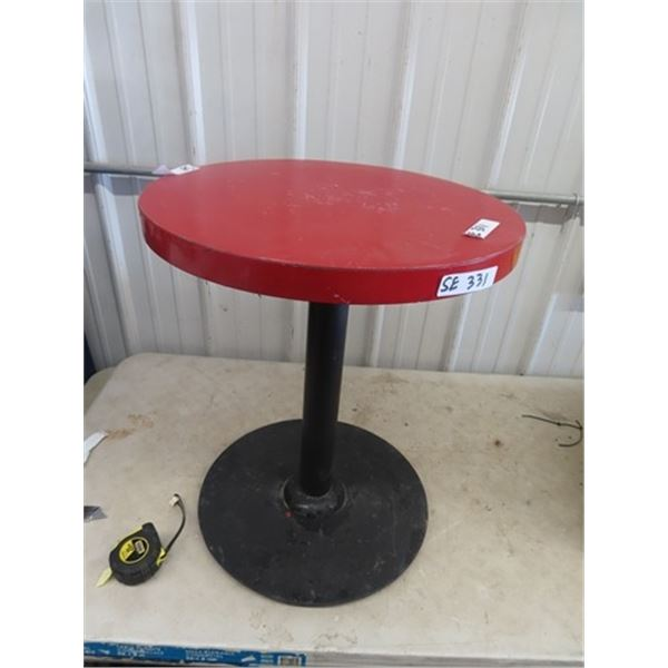 """Smaller Cafe Table w Metal base 24"""" H & 20 """" RD"""
