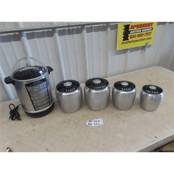 4 Pc Retro Cannister Set & Sunbeam Rotissiere Boiler