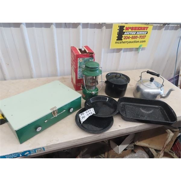 Coleman 335 Lanter, Coleman Stove, Camping Kettle, & Metal Cookware