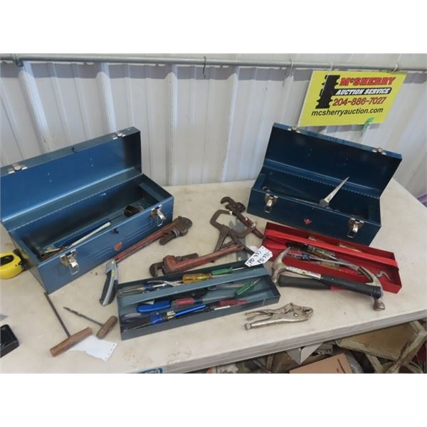2 Metal Tool Boxes, w Various Tools, Pipe Wrenches, Screwdrivers, Hammer, Chisel Plus More