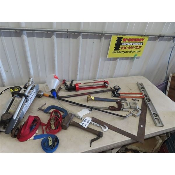 2 Ton Floor Jack, Caulking Gun, Handled Magnet Wrecking bar, Clamp, Load Ratchet Straps