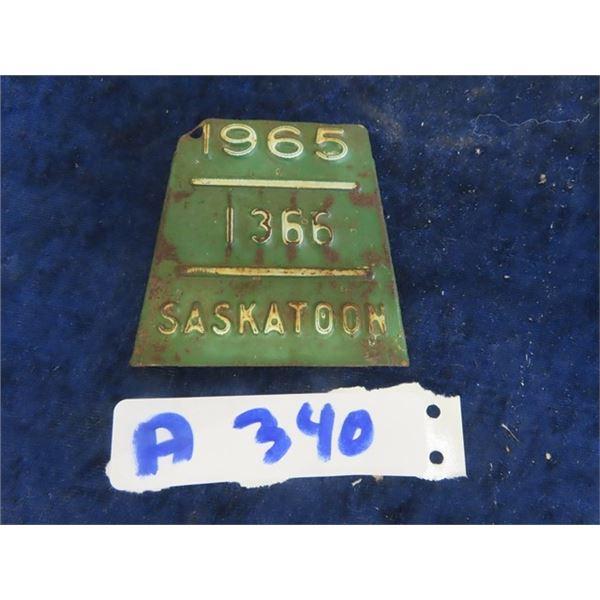 1965 Saskatchewan Bicycle License Plate - Metal & Embossed