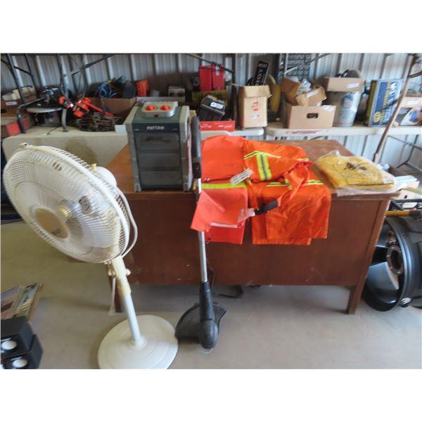 Rain Gear, Safety Overalls, Elec Heater, Fan & Grass Whip Plus