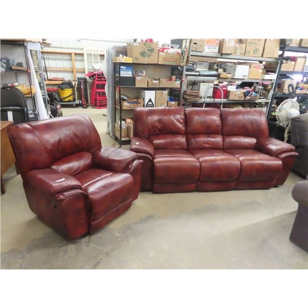 Leather Reclining Couch & Chair- Some Wear on