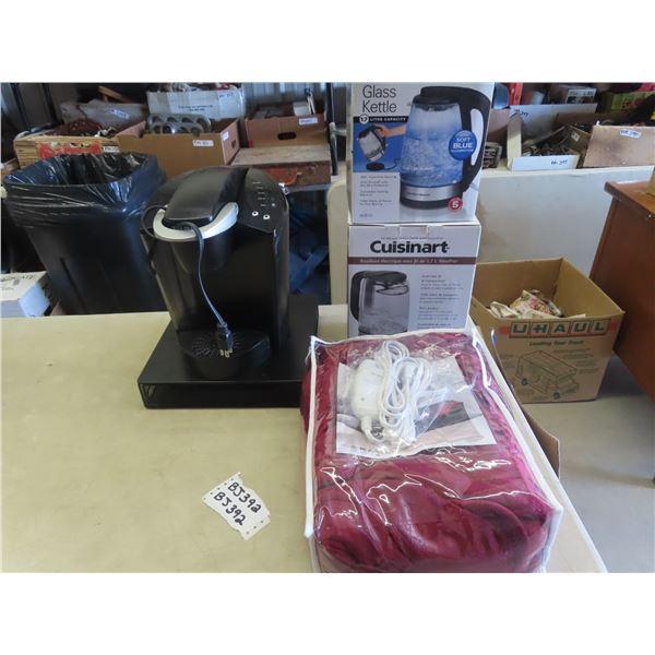 Keurig Coffee Machine & Pod Holder, Elec Blanket & Cuisinart Elec Kettle , & Hamilton Beach Kettle