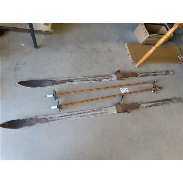Wooden Skis & Poles