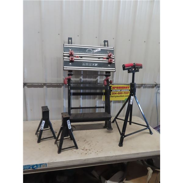 Workmate Bench & Double Head Roller Stand, 2 Stabilizing Jacks