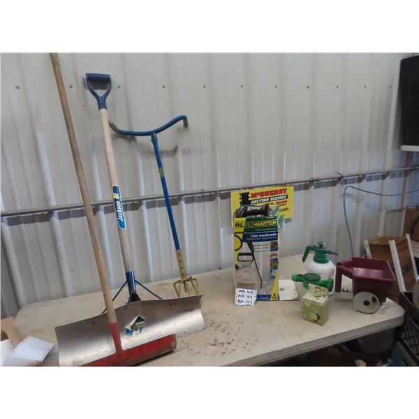 Garden Claw, Shovel Rake, Bottle Sprayer, & Grass Broadcaster