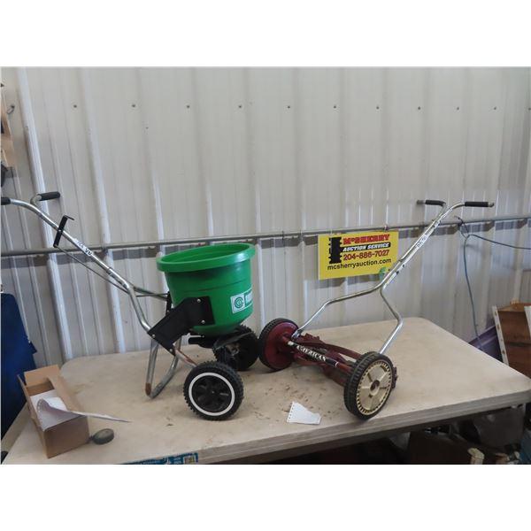 Manual Reel Push Mower & Fertilizer Spreader