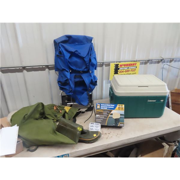 Coleman Cooler, Back Pack, Outboard Motor Cover Size 9 Chest Wadders