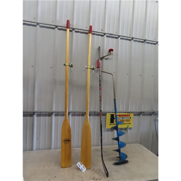 Set of Oars, Manual Ice Auger , & Hockey Stick