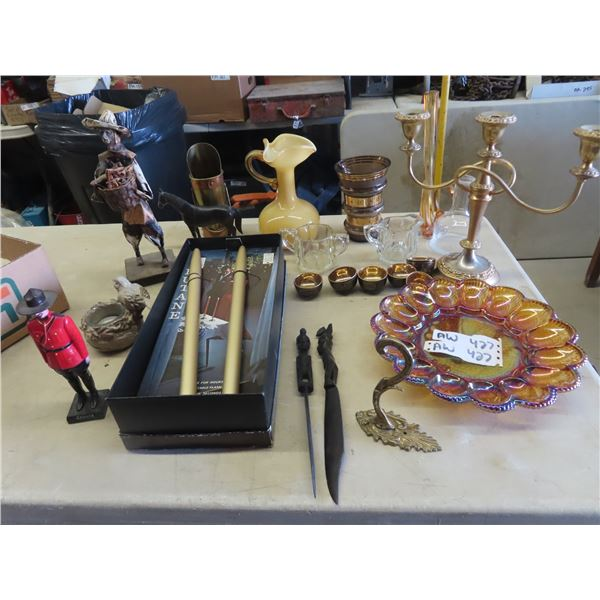 (AW) Carnival Server, Blown Glass Vase, Candle Holders Plus Much More