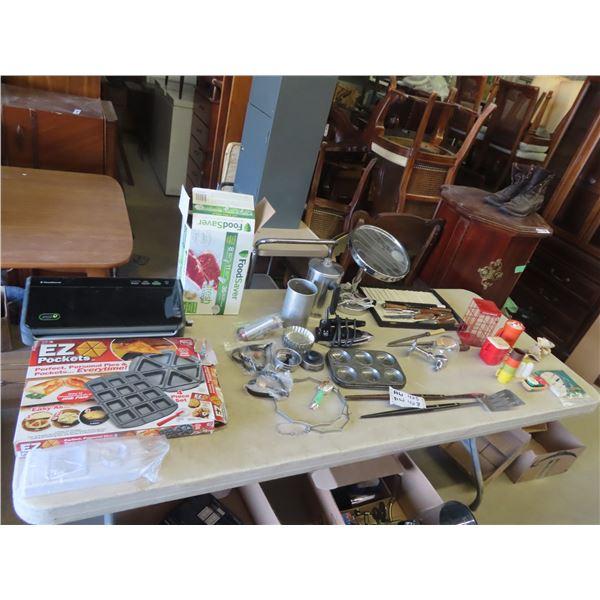 (AW) Food Saver Sealer, Baking Items, Mini Tupperware, Pitcher & Mugs, Lighted Make Up Mirror, Plus
