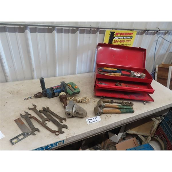 Metal Tool Box w Drawers, Various Tools - Pipe Wrench, Wrenches, Chisels, Bosch Drill , Engraver, Sp