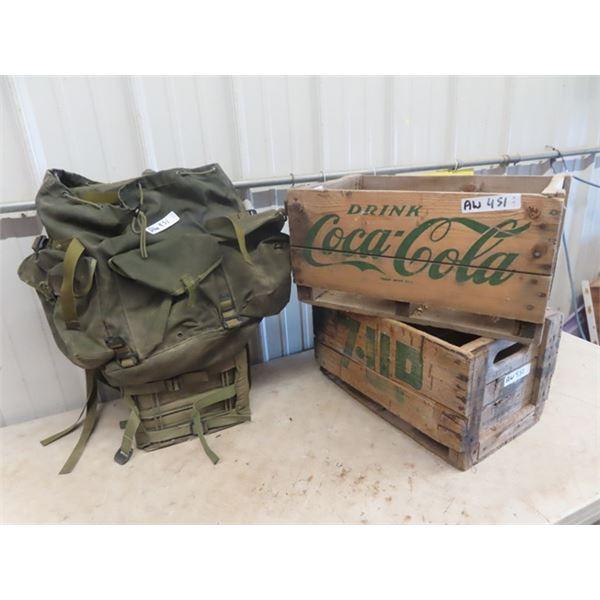 Back Pack, & 2 Pop Crates