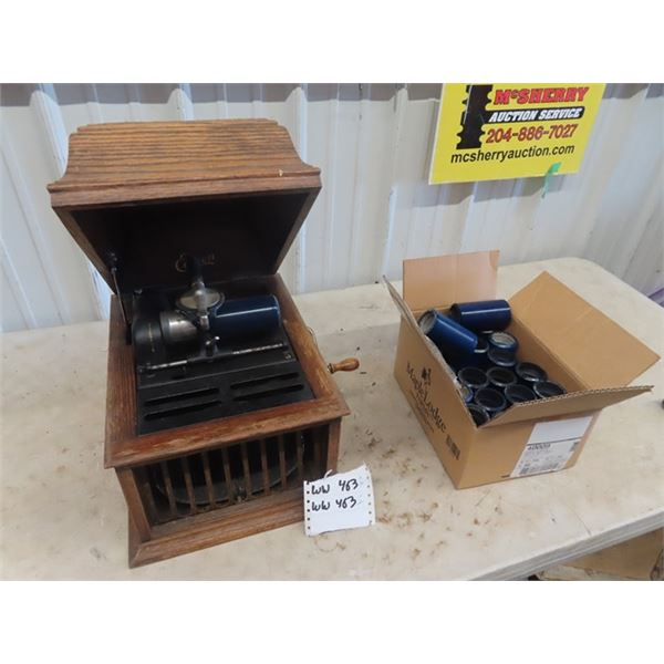 Edison Table Top Cylinder Gramophone w 21 Cylinder