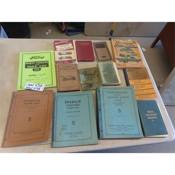 Old Auto Books 1916 Ford Model T Book, Ford Manuals, 1934 Dodge Brothers Master Parts List Plus
